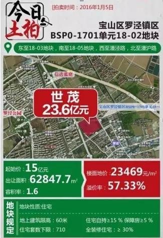 新年纯宅地第一拍 罗泾拍出23.6亿高价